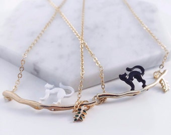 Mysterious Black & White Cat Necklace - Cat lovers; cat accessories, black cat, white cat,