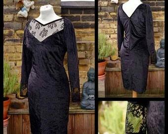 Black velvet vintage mini dress