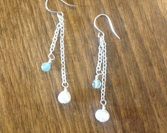 Pearl Earrings, Aquamarine Earrings, Pearl Jewelry