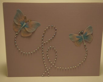 Handmade Lavender and Blue Butterfly Card
