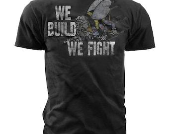 "Men's Navy T-Shirt - Navy Seabees - ""We Build We Fight"" (MT671)"