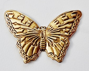 VINTAGE 3 very nice brass stamping BUTTERFLY Jewelry findings /U19