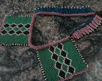 Vintage First Nations Green and Mauve Beaded Choker