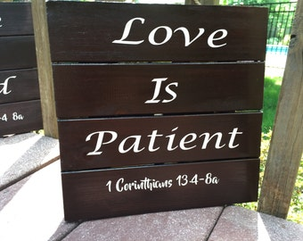 Love Is Patient, Love is Kind, Wedding Aisle Signs, Wedding Decorations. Corinthians 13, Wood Wedding Signs. Wood Wedding Decor. Rustic sign