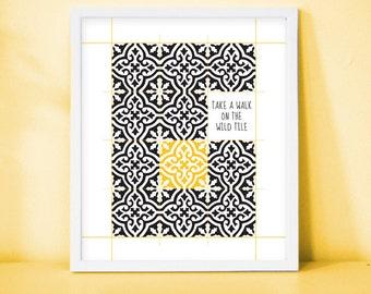 "Framed Print "" Take a walk on the wild tile "", Tiles, Patterns, Morocco, Modern, Yellow, Black, Wall art, Decor"