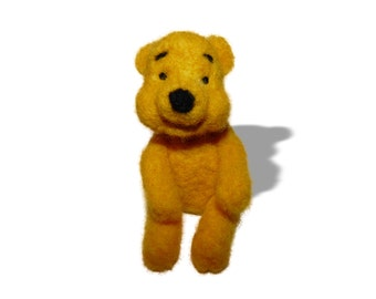 100% Organic toy. Felted toy, Art Marionette, Puppet, Stuffed Animal. Felt Toy. Natural yellow. READY TO SHIP .