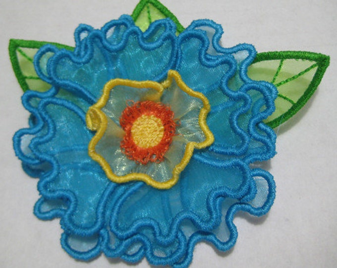 Free Standling Applique 3D Flower Project #397 ( Machine Embroidery Design from ATW )