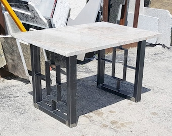 modern dining table granite top with steel square legs