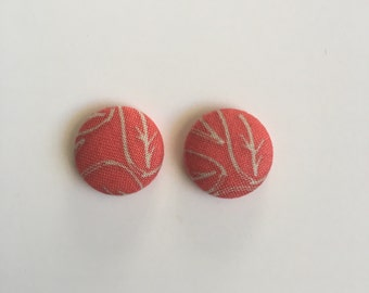 19mm Burnt Orange Leaf Fabric Studs