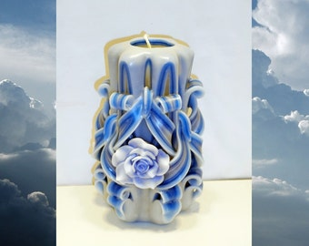 Rose candle - Anniversary gifts - Handmade gift candle - Hand Carved candles -Unusual gifts - Wedding - Blue rose candle - 5 inch/ 12cm