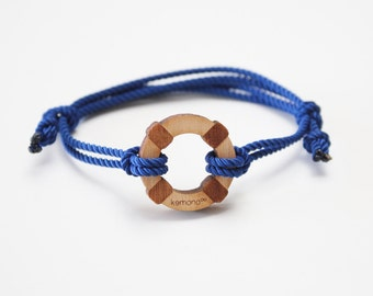 "Kemono Cuff Bracelet ""save people"" blue-wood edition-wood-doughnut"