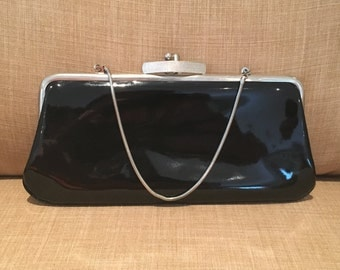 Vintage Black Patent Leather Clutch, Andes Vintage Black Clutch, Vintage Black Handle Purse, Party Purse, Wedding Clutch