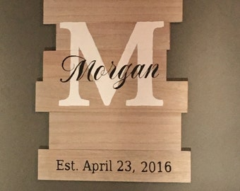Monogram Last Name Wall Sign
