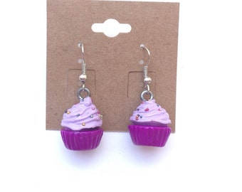 Cupcake earrings/ food jewelry, miniature fake food purple cupcake earrings, fake food jewelry, miniature food jewelry