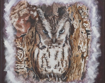 Printing oil painting made by me, owl that is camouflaged