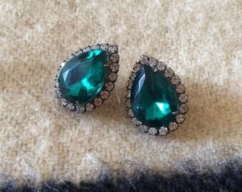Faux Emerald Rhinestone Teardrop Earrings