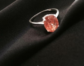Tanzanian  Sunstone Solitaire ring