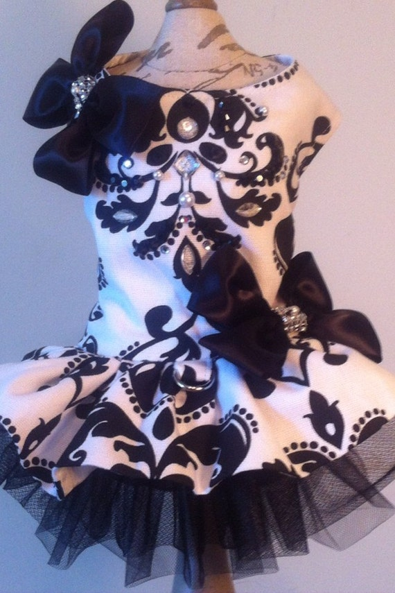 Dog Harness Dress black white