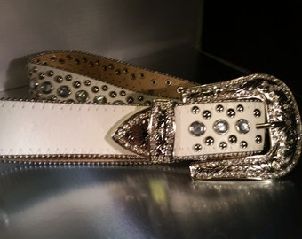 Leather belts with Swarovski Crystal