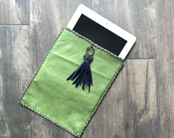 Green Lambskin Leather iPad sleeve