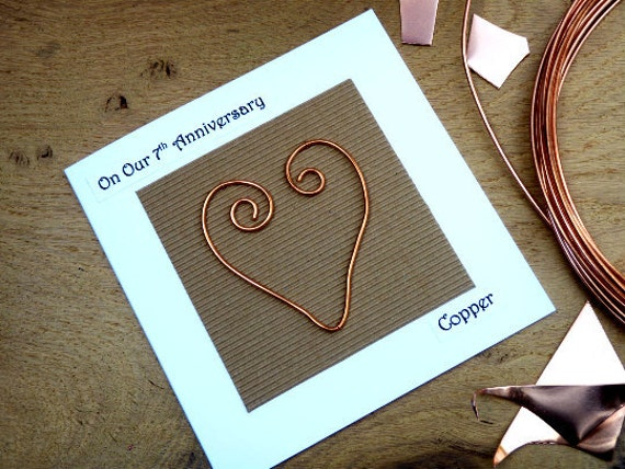 Gifts For 7th Wedding Anniversary: 7th Wedding Anniversary Card Copper Seventh By