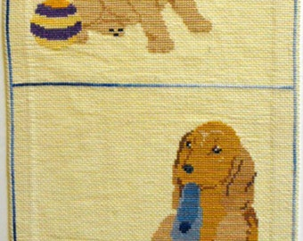 Completed Cross Stitch of Two Sweet Little Puppies