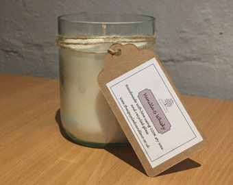 Recycled Wine Bottle Candle with Vanilla & Whisky Scent