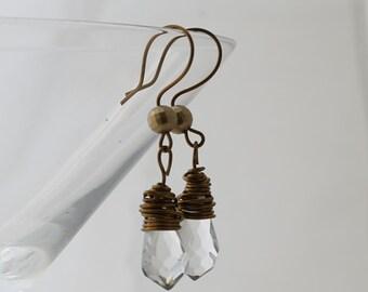 Wire wrapped teardrop facetted bead  earrings