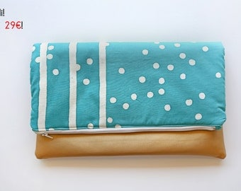 OUTLET! Foldover clutch turquoise and gold