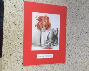 Large A5 Handmade Happy Birthday card 3D decoupage cute cat, kitten with vase of red poppies