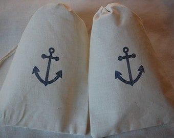10 Wedding beach anchor muslin cotton favor bags 5x7 inch - party bags, goodie bags, gift bags - you choose ink color and bag size