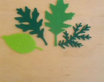 1 set of 12 blanks composed of leaves in four different sizes and three colors of felt 1 mm