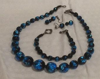 Bohemian Foil Glass Bead Necklace, Earrings, Bracelet
