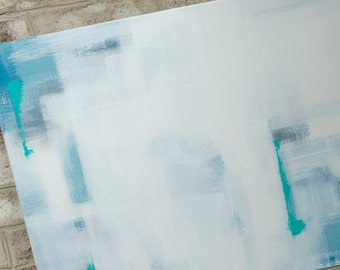 16x20 white and blue abstract art
