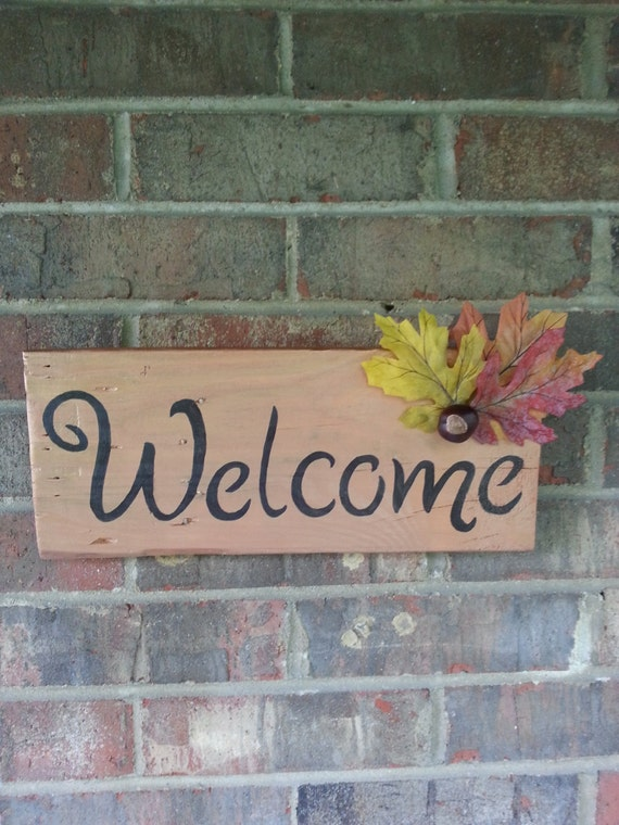 Welcome Wall Mounted Hanging Sign Handmade By Debsdoodadsshop