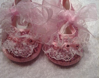 Pink miss rosebud fairy christening shoes