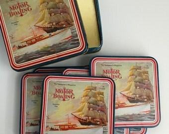 The yachtmen's magazine vintage coaster  set with original box