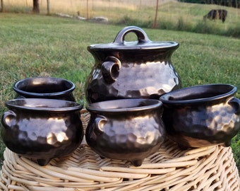 McCoy bean pot with 4 bowls - metallic hammered finish, ceramic, never used.