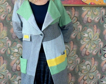 Recycling, patchwork, oversized coat