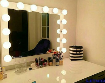 XL Vanity mirror with Hollywood lighting.Perfect for Ikea vanity (bULBS nOT iNCLUDED)