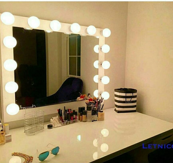 vanity mirror with hollywood lighting bulbs not by charmvanities. Black Bedroom Furniture Sets. Home Design Ideas