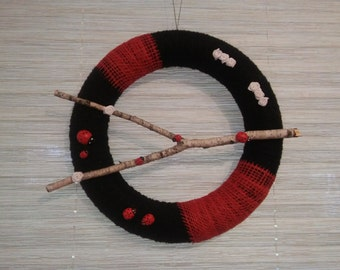 Handmade Door Wreath Ladybird Happiness Home Decor