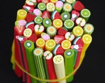 Set Of 50pcs Assorted Styles Fruits Fimo Cane Polymer Clay Stick