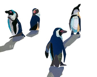 Limited Edition print from a collage of African Penguins