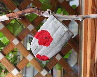 Linen Cotton Oven Glove Poppies, Oven Mitt With Flowers, Kitchen Glove, Pot Holder, Cute Linen Oven Glove