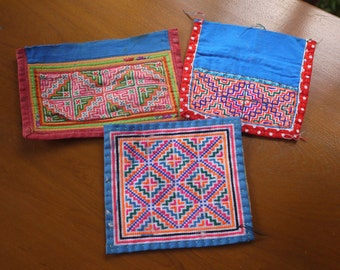 Hmong stitched textile - recycled textile patches - 3 pieces