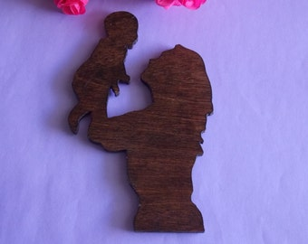 Mother and Baby Wooden Silhouette Magnet