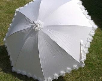 Wedding Ivory Bridle Umbrella decorated with handmade organza flowers