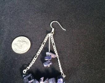 Purple GlitterStone Chandellier Earrings