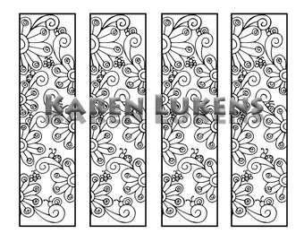 Happy Flowers Bookmarks, 1 Adult Coloring Book Page, Printable Instant Download